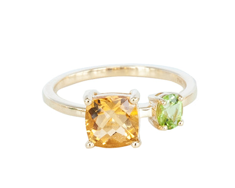 Citrine and Peridot 10ct Gold Square Stone Ring