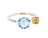 Blue Topaz and Citrine  Round 10ct Gold ring