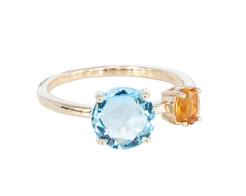 Round Blue Topaz and Citrine 10ct Gold ring
