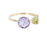 Amethyst and Peridot Round 10ct Gold  Ring