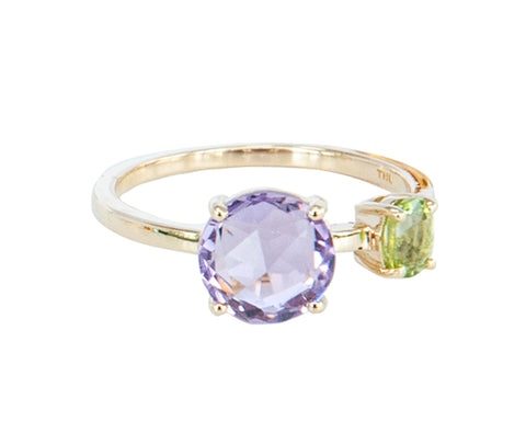 Round Amethyst and Peridot 10ct Gold  Ring