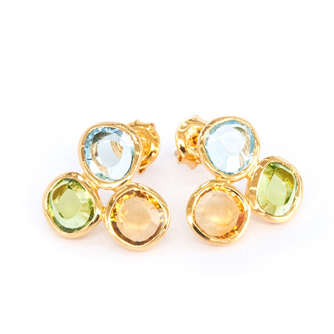 Blue Topaz, Citrine and  Peridot Triple Stone Earrings