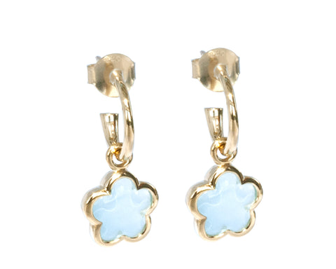 'NEW'  Blue Topaz Rounded Flower Earrings
