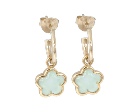 Mint Green Quartz Rounded Flower Earrings