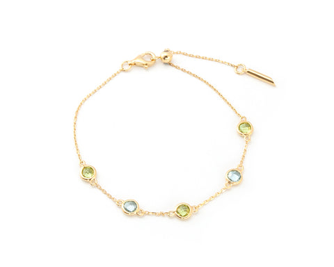 'NEW' Blue Topaz and Peridot Slider bracelet