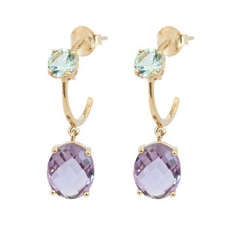 Blue Topaz and Amethyst Hoop 10ct Gold Drop Earrings