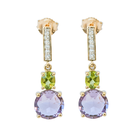 Peridot and Round Amethyst with White Topaz Drop Earrings