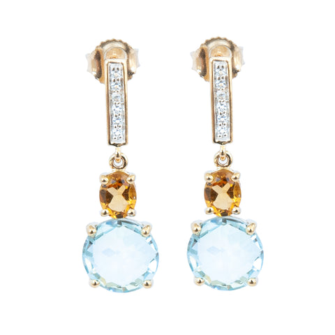Citrine and Round Blue Topaz and White Topaz Drop Earrings