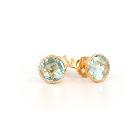 'NEW' Blue Topaz Round Stud Earring