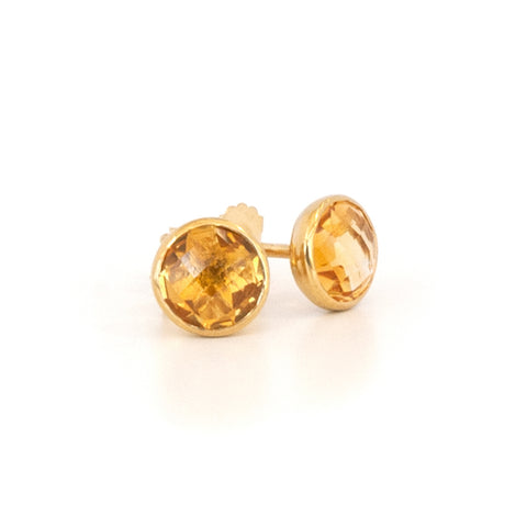'NEW' Citrine Round Stud Earrings
