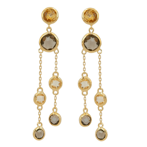 Vermeil Double Strand Drop Earrings - Citrine and Smoky Quartz