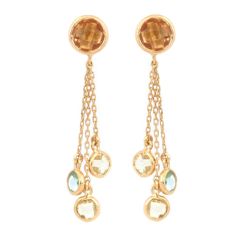 Citrine Three Chain Stud Earrings