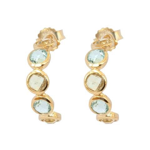 Lemon Quartz and Blue Topaz Half Hoop Earrings