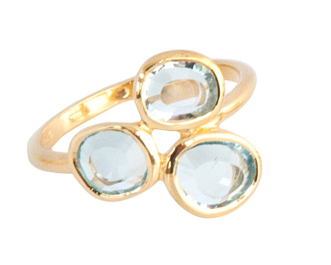 Blue Topaz Three Stone Ring