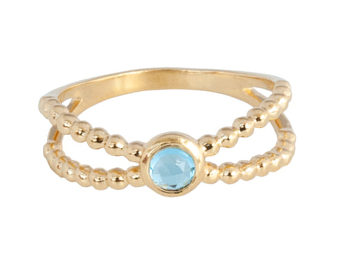 Vermeil Twin Band Blue Topaz Ring