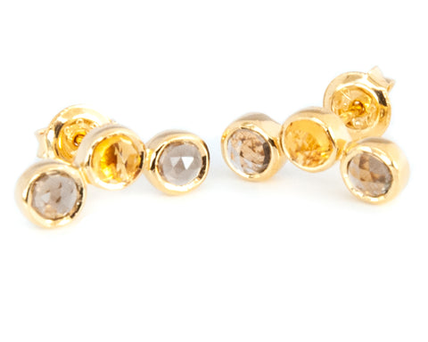 Smoky Quartz and Citrine Three stone Stud Earrings