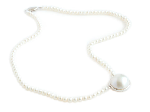 Pearl Necklace with Mabe Pearl - Sterling SIlver