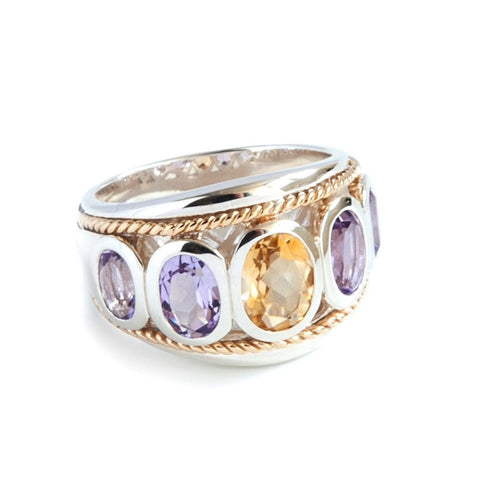 Citrine and Amethyst Large Five Stone Ring 'NEW'