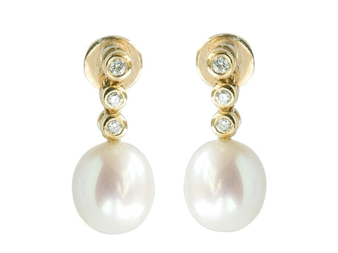Cultured River Pearl Drop Earrings with Three Diamonds