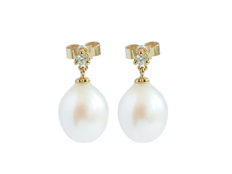 Cultured River Pearl Earrings with Single Diamond.