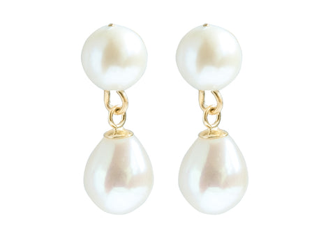 Cultured River Pearl set in 9ct Gold Double Drop Earrings