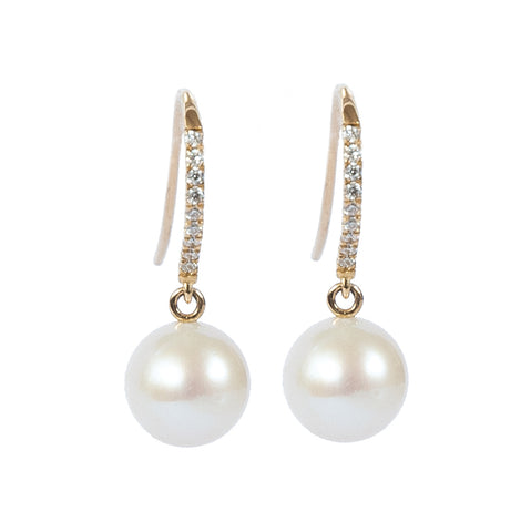 Gold 18ct - Diamond Set Cultured River Pearl Hook Earrings