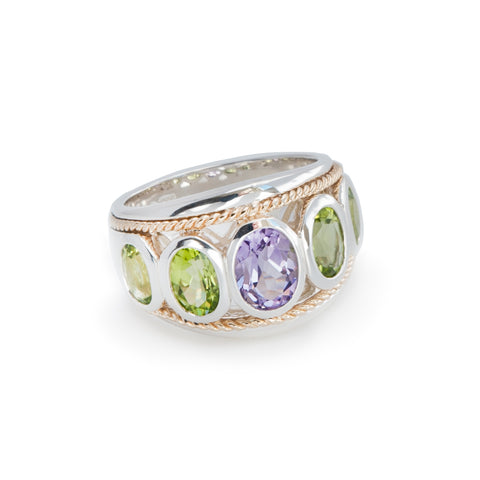 Amethyst and Peridot Large Five Stone Ring 'NEW'