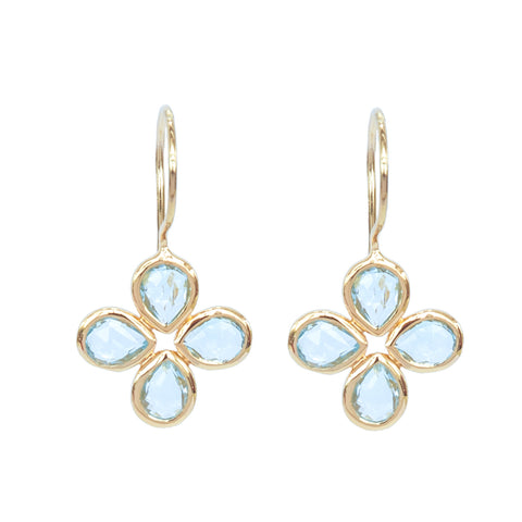 Blue Topaz Vermeil Flower Earrings
