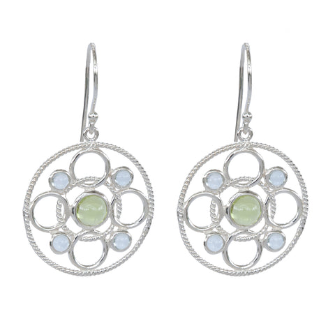 Sterling Silver Circle Link Earrings with Cabachon Peridot and Sky Blue Topaz 'new'
