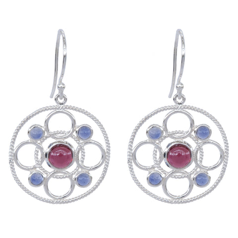 Sterling Silver Circle Link Earrings with Cabachon Rhodolite and Iolite 'new'