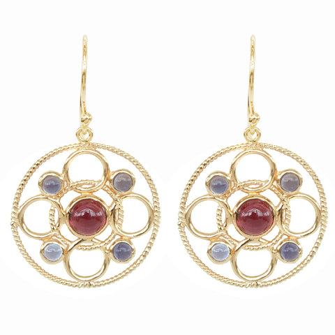 Vermeil Circle Link Earrings with Cabachon Rhodolite and Iolite 'new'