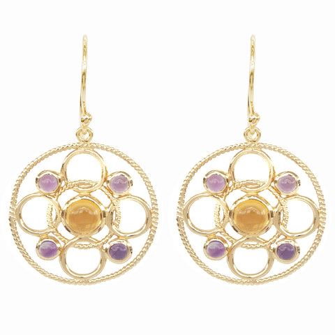 Vermeil Circle Link Earrings with Cabachon Citrine and Amethyst 'new'