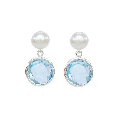 Pearl & Blue Topaz Sterling Silver Drop Earrings 'NEW'