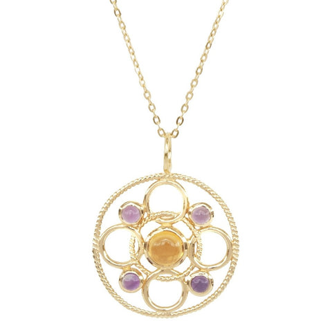 Vermeil Circle Link Necklace with Cabachon Citrine and Amethyst 'new'
