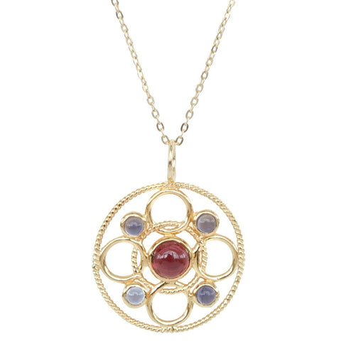 Vermeil Circle Link Necklace with Cabochon Rhodolite Garnet and Iolite 'new'