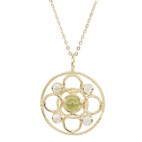 Vermeil Circle Link Necklace with Cabachon Peridot and Sky Blue Topaz 'new'