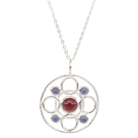 Sterling Silver Circle Link Necklace with Cabachon Rhodolite and Iolite 'new'