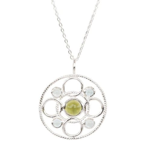Sterling Silver Circle Link Necklace with Cabachon Peridot and Sky Blue Topaz 'new'