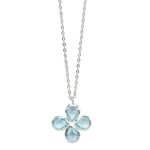 Blue Topaz Silver Flower Necklace