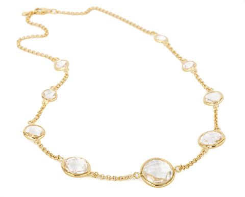 "Rock Crystal Gold Vermeil Nine Stone 16"" Necklace"