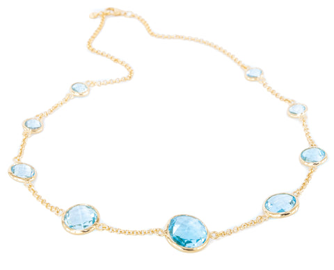 Blue Topaz Nine Stone Vermeil Necklace