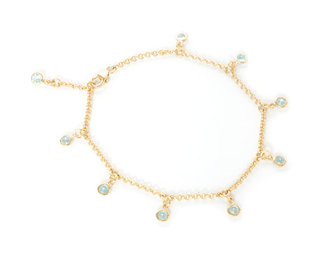 Blue Topaz Gold Vermeil Nine Stone Bracelet 'NEW'