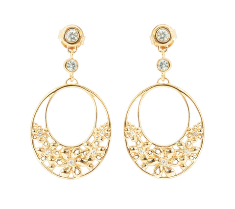 White Sapphire Gold Vermeil Double Hoop Flower Earrings 'NEW'