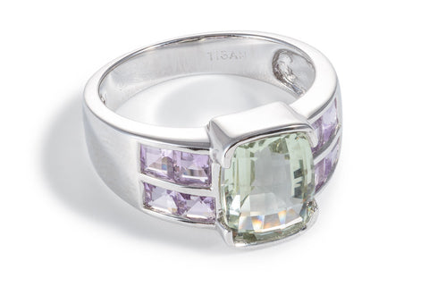 Pink & Green Amethyst Double Band Ring