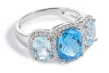 Diamond, Sky Blue Topaz & Blue Topaz 3 Stone Ring