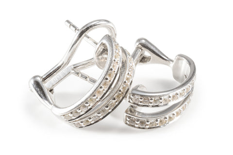White Sapphire Silver Hoop Earrings