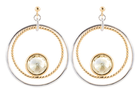 Green Amethyst Double Circle Earrings