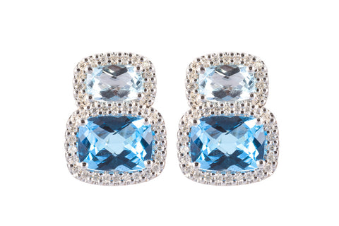 Diamond, Sky Blue Topaz and Blue Topaz Drop Earrings