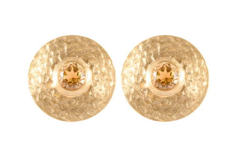 Round Citrine Vermeil Stud Earrings