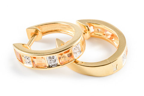 White CZ Citrine Hoop Vermeil earrings